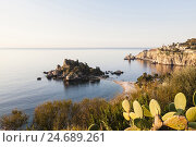Купить «View at Isola Bella with sunrise, Italy, Sicily, Taormina,», фото № 24689261, снято 19 января 2019 г. (c) mauritius images / Фотобанк Лори