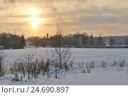 Купить «Поздний зимний рассвет в Финляндии», фото № 24690897, снято 16 декабря 2012 г. (c) Татьяна Савватеева / Фотобанк Лори