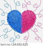 Сердце, свитое из переплетённых голубых и розовых нитей, и завитки в форме сердец. Стоковая иллюстрация, иллюстратор elena_a / Фотобанк Лори