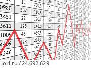 Таблица с данными и красный график. Стоковая иллюстрация, иллюстратор elena_a / Фотобанк Лори