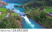 Купить «lovatnet lake Beautiful Nature Norway.», видеоролик № 24693065, снято 25 октября 2016 г. (c) Андрей Армягов / Фотобанк Лори