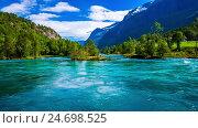 Купить «lovatnet lake Beautiful Nature Norway.», видеоролик № 24698525, снято 12 декабря 2016 г. (c) Андрей Армягов / Фотобанк Лори