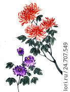 Купить «Хризантемы. Рисунок в стиле се-и», иллюстрация № 24707549 (c) Заноза-Ру / Фотобанк Лори