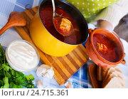 Купить «Russian hot soup with meat, beetroot and cabbage», фото № 24715361, снято 22 октября 2018 г. (c) Яков Филимонов / Фотобанк Лори