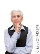 Купить «Пожилой задумчивый мужчина», фото № 24743849, снято 27 февраля 2016 г. (c) Юлия Кузнецова / Фотобанк Лори