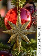 Купить «Новогодние красивые игрушки на ветвях праздничной ели», эксклюзивное фото № 24744313, снято 20 декабря 2016 г. (c) lana1501 / Фотобанк Лори