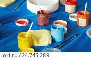 Купить «Improvised set of water-borne paints», фото № 24745289, снято 30 июля 2016 г. (c) Павел Кулинич / Фотобанк Лори
