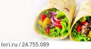Купить «tortilla wraps», фото № 24755089, снято 1 июня 2014 г. (c) Tatjana Baibakova / Фотобанк Лори