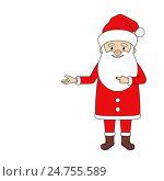 Санта показывает на пустое место. Стоковая иллюстрация, иллюстратор Алла Ринчино / Фотобанк Лори