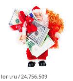 Купить «Дед Мороз с долларами и евро», фото № 24756509, снято 18 апреля 2019 г. (c) OSHI / Фотобанк Лори
