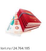 Купить «Загранпаспорта РФ и деньги», фото № 24764185, снято 18 апреля 2019 г. (c) OSHI / Фотобанк Лори