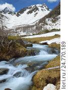 Купить «Горный ручей весной», фото № 24770189, снято 21 мая 2016 г. (c) александр жарников / Фотобанк Лори