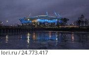 Купить «Новый стадион Зенит-Арена на Крестовском острове с праздничной подсветкой. Санкт-Петербург», видеоролик № 24773417, снято 25 декабря 2016 г. (c) Юлия Бабкина / Фотобанк Лори