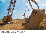 Экскаватор добывает глину. Стоковое фото, фотограф Станислав Сергеев / Фотобанк Лори