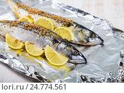 Купить «Raw mackerel in foil close up. Preparation of fresh fish.», фото № 24774561, снято 6 декабря 2016 г. (c) Елена Блохина / Фотобанк Лори