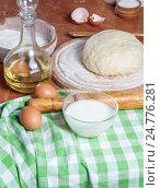 Приготовленное тесто и ингредиенты на столе. Стоковое фото, фотограф Igor Sirbu / Фотобанк Лори