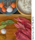 Купить «Кусочки отбитого мяса, соль, перец, пряности, яйца и мука», фото № 24776473, снято 11 января 2016 г. (c) Оксана Владимировна Грачева / Фотобанк Лори