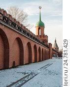 Купить «Город Тула. Стена с видом на Проездную башню Тульского кремля зимой», эксклюзивное фото № 24781429, снято 24 ноября 2016 г. (c) Игорь Низов / Фотобанк Лори