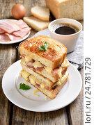 Купить «Бутерброд с сыром на завтрак», фото № 24781729, снято 20 сентября 2016 г. (c) Татьяна Волгутова / Фотобанк Лори