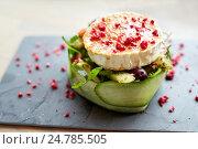 Купить «goat cheese salad with vegetables at restaurant», фото № 24785505, снято 22 сентября 2016 г. (c) Syda Productions / Фотобанк Лори