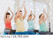 Купить «happy pregnant women with exercise balls in gym», фото № 24785669, снято 5 марта 2016 г. (c) Syda Productions / Фотобанк Лори