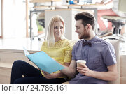 office workers with folder and coffee. Стоковое фото, фотограф Syda Productions / Фотобанк Лори