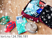 Купить «travel bag with clothes, camera and city guide», фото № 24786181, снято 9 февраля 2016 г. (c) Syda Productions / Фотобанк Лори