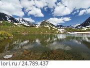 Красивое озеро с отражением гор на полуострове Камчатка, фото № 24789437, снято 21 июня 2016 г. (c) А. А. Пирагис / Фотобанк Лори