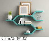 Книжные полки, 3D иллюстрация, иллюстрация № 24801521 (c) Hemul / Фотобанк Лори