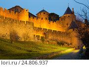 Купить «Medieval fortress walls in evening. Carcassonne», фото № 24806937, снято 3 января 2016 г. (c) Яков Филимонов / Фотобанк Лори