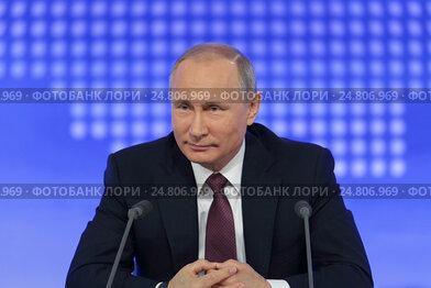Президент Российской Федерации Владимир Владимирович Путин на ежегодной пресс-конференции в Москве