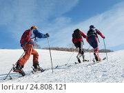 Группа ски-альпинистов поднимается в гору на лыжах, фото № 24808121, снято 4 февраля 2012 г. (c) А. А. Пирагис / Фотобанк Лори