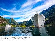 Купить «Cruise Liners On Geiranger fjord, Norway», фото № 24809217, снято 20 июля 2016 г. (c) Андрей Армягов / Фотобанк Лори