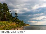 Вечер, перед грозой. Река Обь, Новосибирская область, Сибирь, Россия (2016 год). Стоковое фото, фотограф Евгений Мухортов / Фотобанк Лори