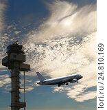 Купить «В небо- взлетающий самолет, вышка управления полетами и облачное небо», фото № 24810169, снято 19 октября 2013 г. (c) oleg savichev / Фотобанк Лори