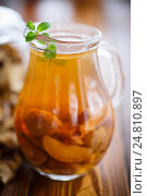 compote of dried fruits in a carafe. Стоковое фото, фотограф Peredniankina / Фотобанк Лори