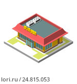 Изометрический значок здания кафе быстрого питания. Стоковая иллюстрация, иллюстратор Алексей Плескач / Фотобанк Лори
