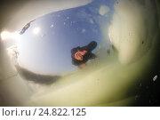 Купить «Погружение под лед Черного моря на побережье Одессы, вид из-под воды», фото № 24822125, снято 20 февраля 2012 г. (c) Некрасов Андрей / Фотобанк Лори