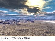 Купить «Alien planet. Sunrise. 3D rendering», иллюстрация № 24827969 (c) Parmenov Pavel / Фотобанк Лори