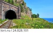 """Купить «Тоннель № 18-бис """"Киркерей-3"""". Арка галереи с западной стороны. Кругобайкальская железная дорога. Россия», фото № 24828101, снято 29 июля 2016 г. (c) Виктор Никитин / Фотобанк Лори"""