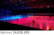 Купить «Hockey players go on the ice arena before the match», видеоролик № 24828289, снято 7 января 2016 г. (c) Антон Гвоздиков / Фотобанк Лори