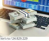 Купить «Stock market online business concept. Pack of dollar on laptop keyboard with stock market char on the screen.», фото № 24829229, снято 22 сентября 2019 г. (c) Maksym Yemelyanov / Фотобанк Лори