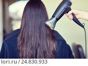 Купить «stylist hand with fan dries woman hair at salon», фото № 24830933, снято 15 февраля 2015 г. (c) Syda Productions / Фотобанк Лори