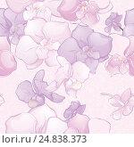 Купить «Beautiful Seamless Pattern with Orchid Flowers», иллюстрация № 24838373 (c) Савицкая Татьяна / Фотобанк Лори