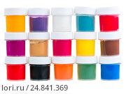 Купить «large set of gouache paint cans in a row», фото № 24841369, снято 6 апреля 2016 г. (c) Константин Лабунский / Фотобанк Лори