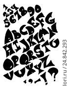Black alphabet letters on white background. Стоковая иллюстрация, иллюстратор Екатерина Голубкова / Фотобанк Лори