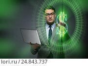 Купить «Man in online currency trading concept», фото № 24843737, снято 2 декабря 2016 г. (c) Elnur / Фотобанк Лори