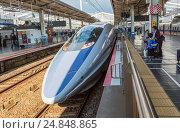 Купить «Japan, Okayama Statilon, West Japan Bullet train.», фото № 24848865, снято 11 ноября 2016 г. (c) age Fotostock / Фотобанк Лори