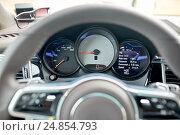 Купить «close up of car dashboard and steering wheel», фото № 24854793, снято 12 июня 2016 г. (c) Syda Productions / Фотобанк Лори