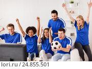 Купить «friends or football fans watching soccer at home», фото № 24855501, снято 14 августа 2016 г. (c) Syda Productions / Фотобанк Лори